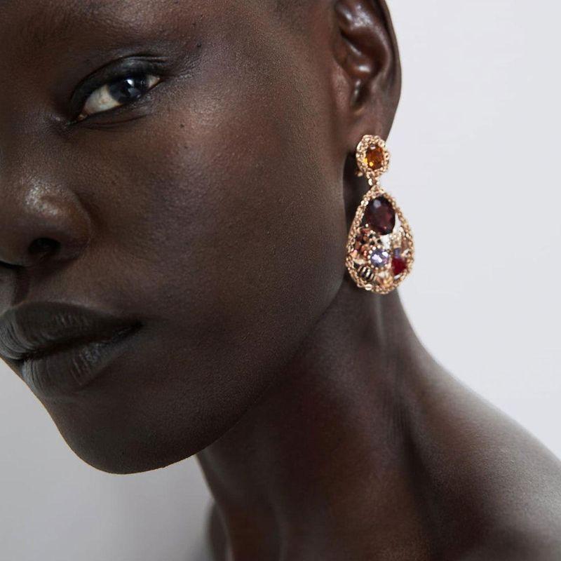 Luxurious imitation gemstone diamond drop earrings NHCT155018