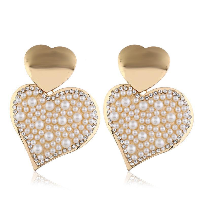 Fashion Pearl Heart Alloy Earrings NHVA155043