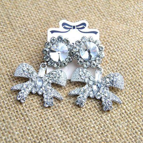 Retro exaggerated fashion rhinestone bow big earrings NHNT155050's discount tags