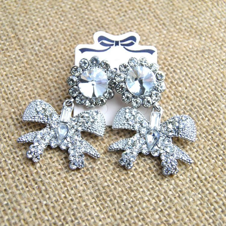 Retro exaggerated fashion rhinestone bow big earrings NHNT155050