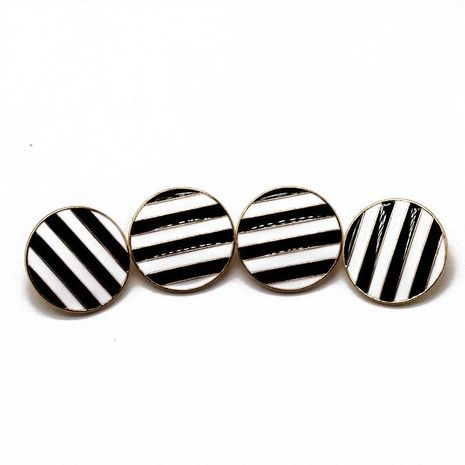 Classic black and white striped round earrings NHOM155060's discount tags