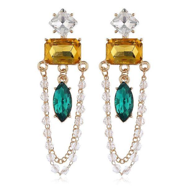 Pendientes largos de aleación de oro con esmeraldas NHVA155066