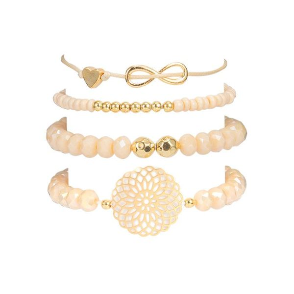 Creative 8 word bow love hollow round beaded four-piece bracelet NHGY155067