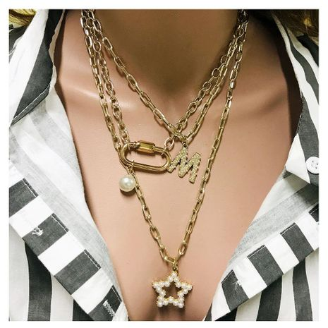 Fashion letter element personalized lock five-pointed star necklace NHCT155071's discount tags