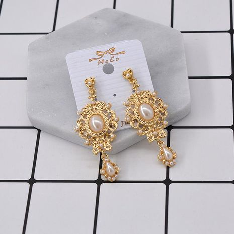 Europe and the United States exaggerated artificial gemstone pearl alloy earrings NHNT155083's discount tags