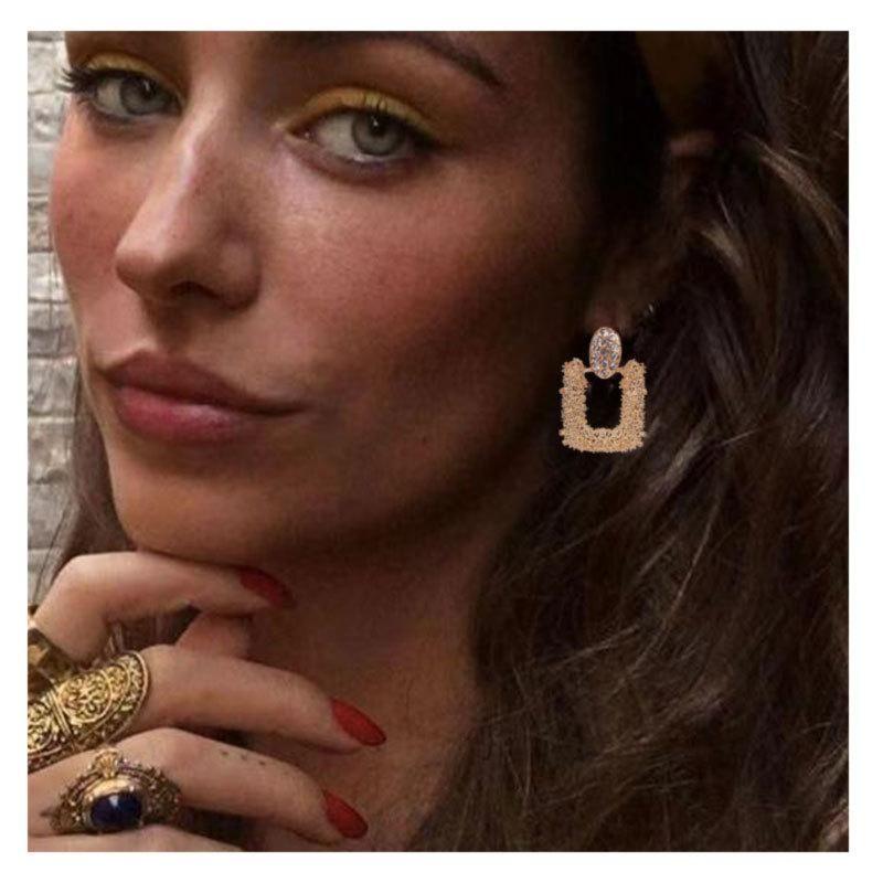 Sleek minimalist bohemian electroplated alloy earrings NHCT155084