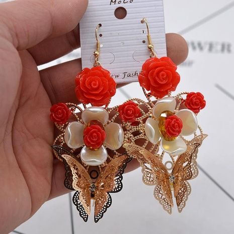 Fashion magnetic flower crystal butterfly alloy earrings NHNT155087's discount tags