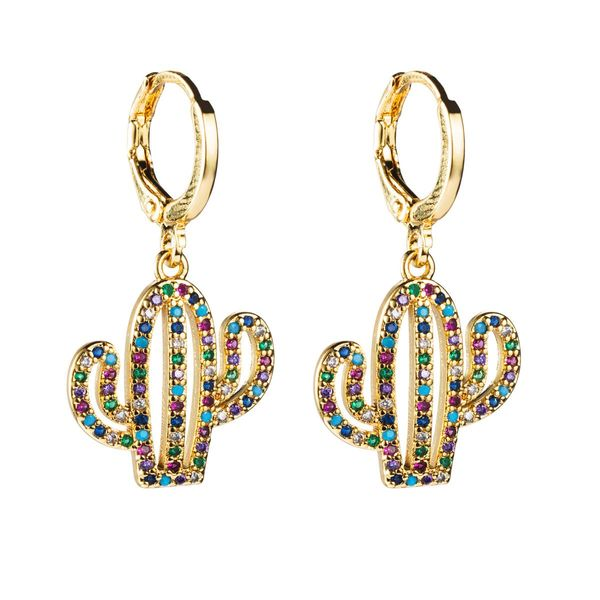 Exotic cactus copper micro-set zircon earrings NHLN155090