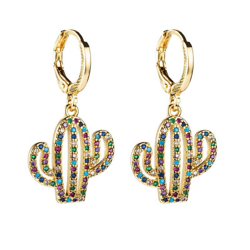 Exotic cactus copper microset zircon earrings NHLN155090