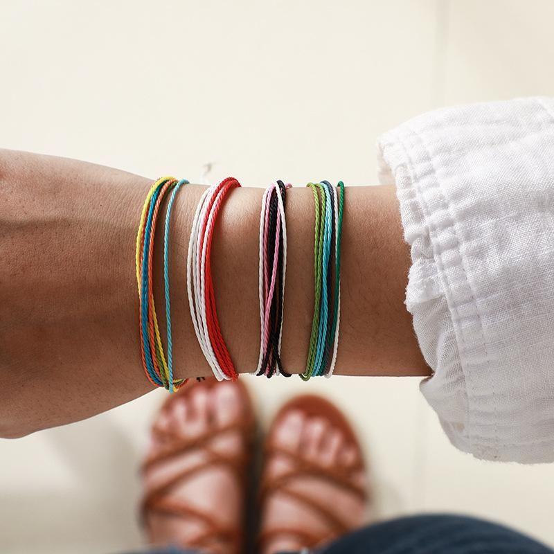 Fashion ethnic color line rope braided bracelet fourpiece NHGY155092