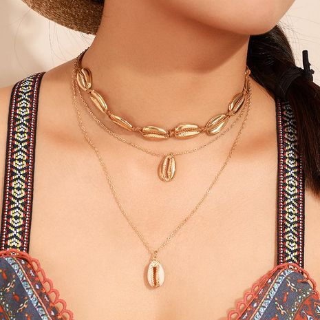 Bohemian shell alloy multi-layer necklace NHGY155095's discount tags