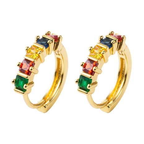 Stylish temperament copper micro-inlaid colorful zircon full diamond earrings NHLN155102's discount tags