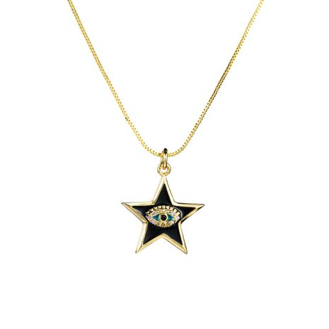 Copper micro-inlaid zircon eye five-pointed star clavicle chain necklace NHLN155105's discount tags