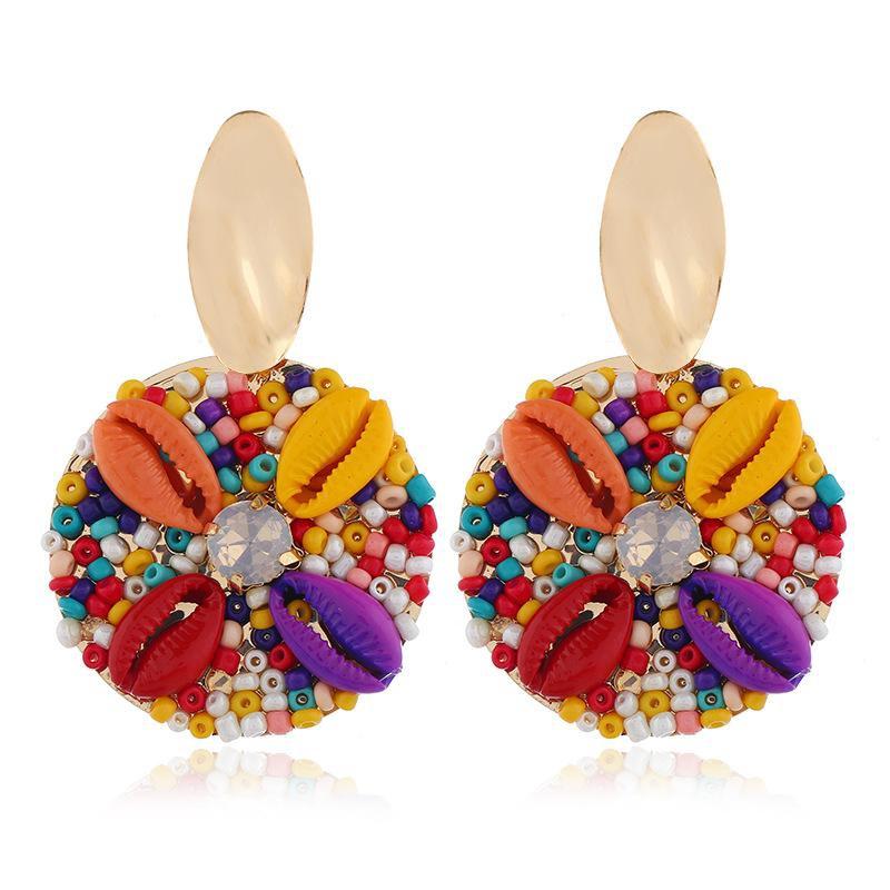 Fashionable simple multicolor shell alloy earrings NHVA155106