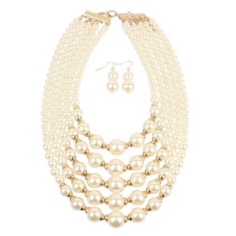 Fashion exaggerated imitation pearl short multi-layer necklace NHCT155113's discount tags