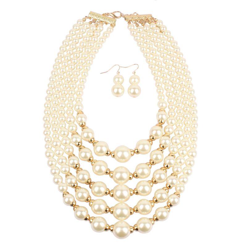 Fashion exaggerated imitation pearl short multi-layer necklace NHCT155113