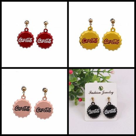 Fashion spray paint bottle cap earrings NHYL155114's discount tags