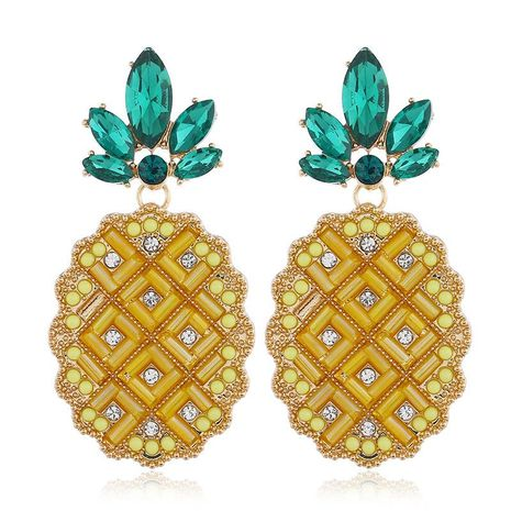 Creative color pineapple fruit alloy earrings NHVA155116's discount tags