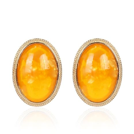 Womens Oval Acrylic Two-Color Series Earrings NHCT155122's discount tags