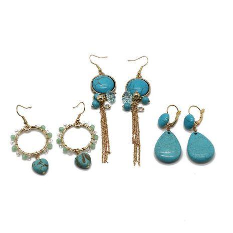 Vintage old style turquoise series tassel earrings NHOM155124's discount tags