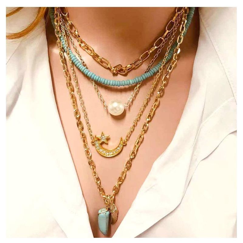 Fashion natural stone stars moon wings personality necklace NHCT155132