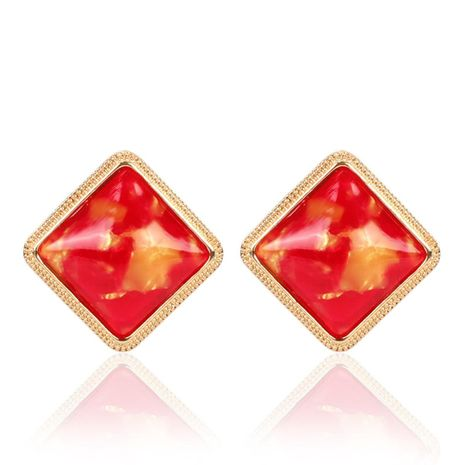 Korean color resin square earrings NHCT155133's discount tags