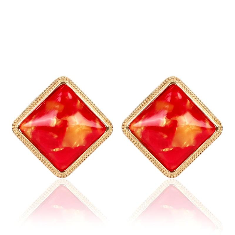 Korean color resin square earrings NHCT155133