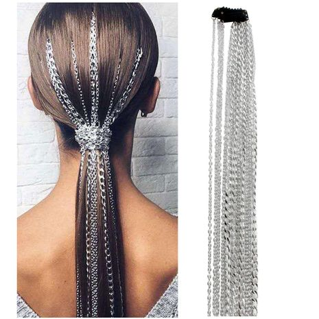 Fashion silver plated non-fading wig extension chain NHCT155139's discount tags