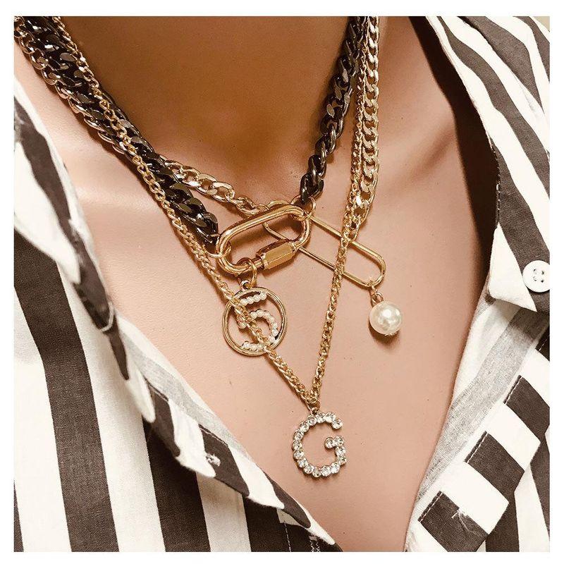 Stylish retro digital letter lock mix necklace NHCT155144