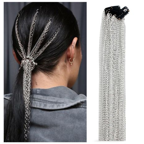 Fashion silver plated non-fading wig extension chain NHCT155152's discount tags
