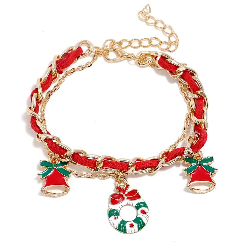 Fashion Santa Claus Elk Red Suede Bracelet NHNZ155154