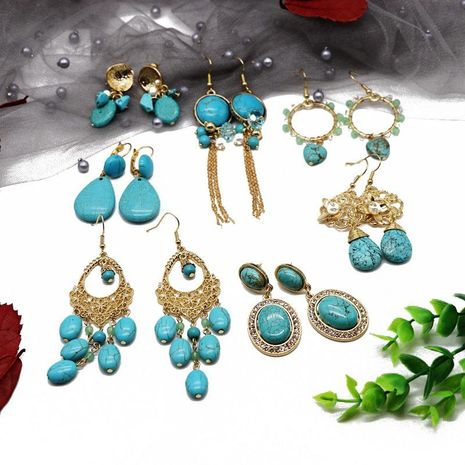 Fashion Turquoise Series Tassel Woven Earrings NHOM155156's discount tags