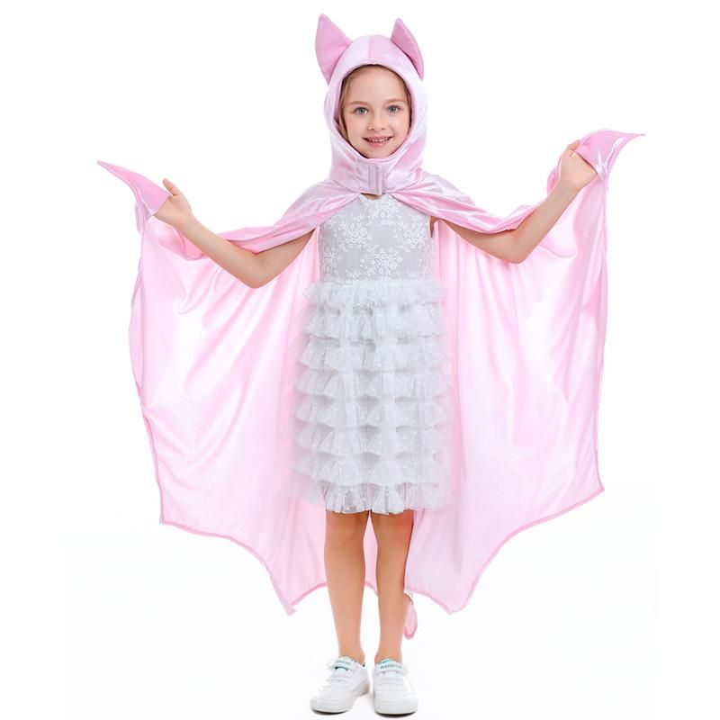 Halloween Girl Dance Party Costume Pink Cute Cosplay Bat Wings Cloak NHFE155203