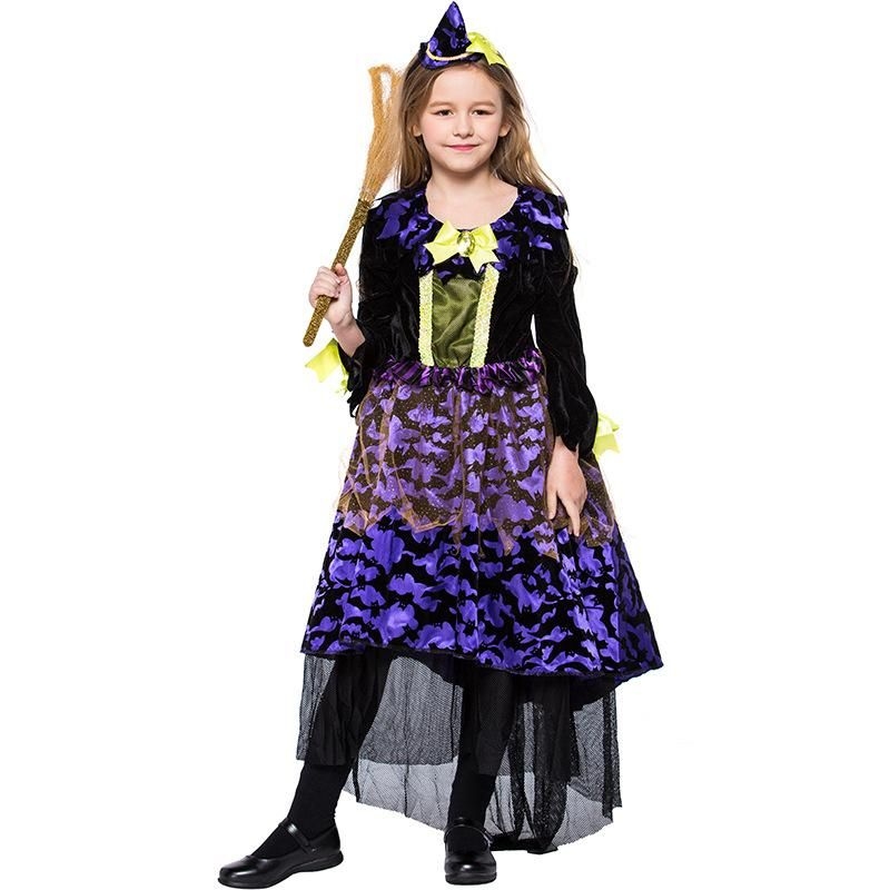New Halloween Carnival Purple Little Witch Stage Performance Costume NHFE155206