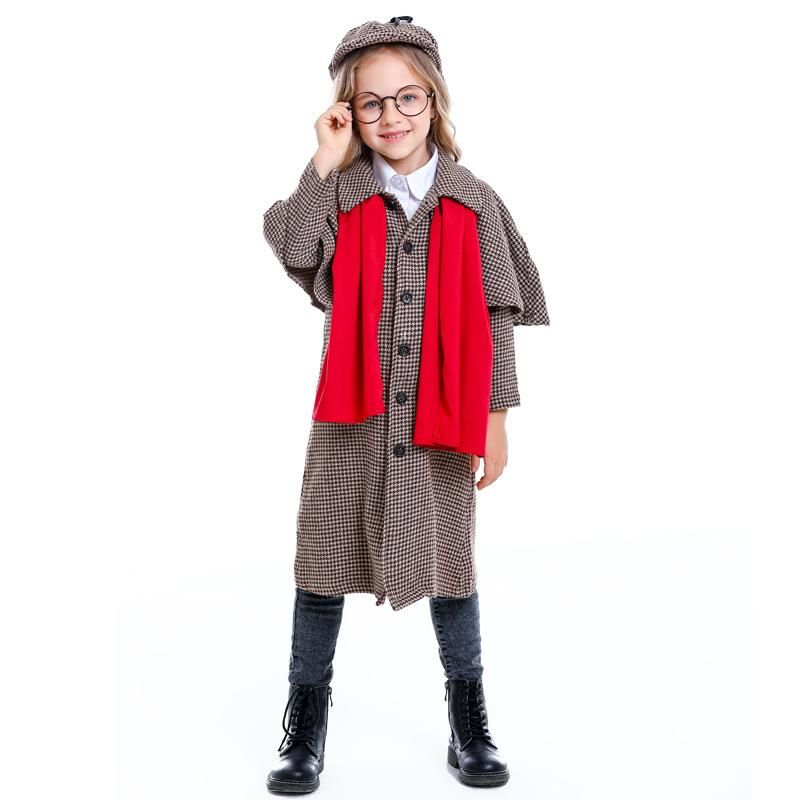 Halloween Detective Sherlock Holmes Children's Performance Costume NHFE155211