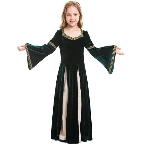 Halloween Vintage Medieval Girls Costume Dark Green Trumpet Sleeve Maxi Dress NHFE155213's discount tags