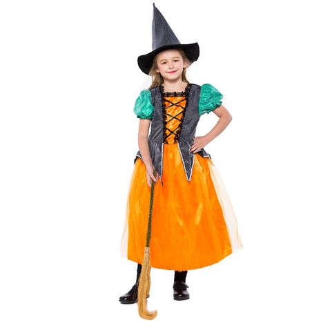 Halloween Girl Little Witch Princess Dress Prom Dance Costume NHFE155215's discount tags