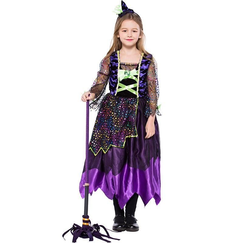 Halloween Carnival Colorful Bat Witch Magic Dress Show Costume NHFE155218