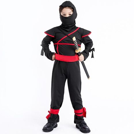 Halloween cosplay children masked warrior black ninja suit stage wear NHFE155226's discount tags