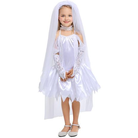 Halloween cosplay ghost bride pure white children princess dress NHFE155227's discount tags