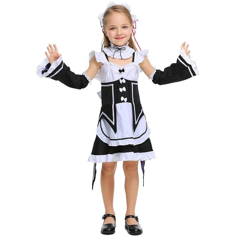 Cute cafe maid uniform Halloween cosplay parentchild costume NHFE155229