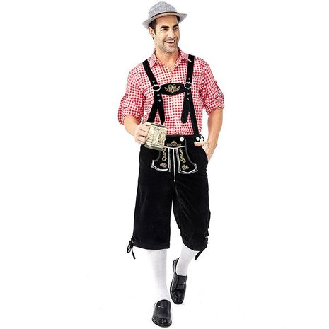 Halloween cosplay costume red plaid beer black bib suit NHFE155241's discount tags