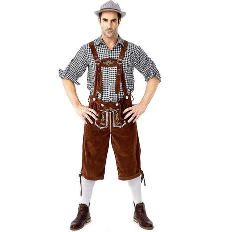 New Halloween Oktoberfest cosplay costume black and white plaid shirt bib with hat NHFE155242's discount tags