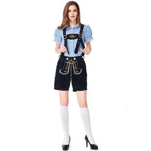 Halloween cosplay German traditional Oktoberfest plaid suit NHFE155243's discount tags