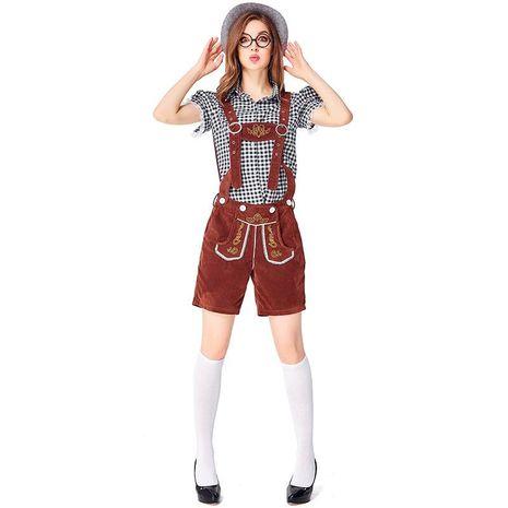 Halloween cosplay new German Oktoberfest black plaid brown suspenders suit NHFE155244's discount tags