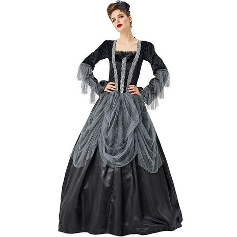 Halloween cosplay aristocratic girl dance black gray lace tutu skirt NHFE155247's discount tags