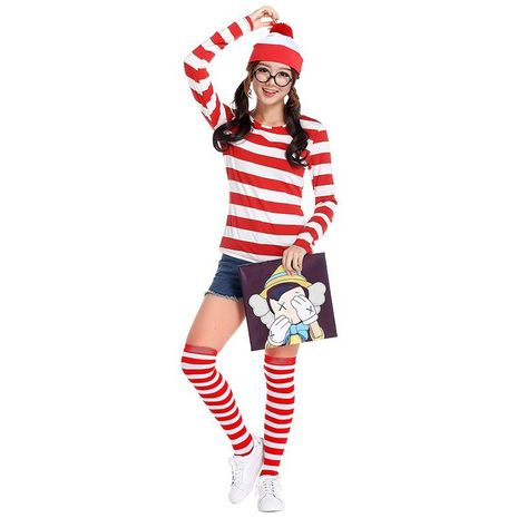 Where's Wally British anime character Halloween cosplay suit NHFE155248's discount tags