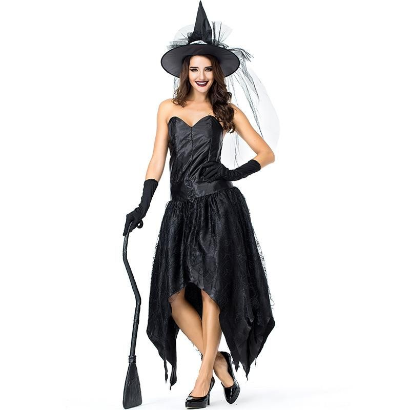 New Halloween Carnival Black Tube Top Spider Web Witch Party Dress NHFE155257