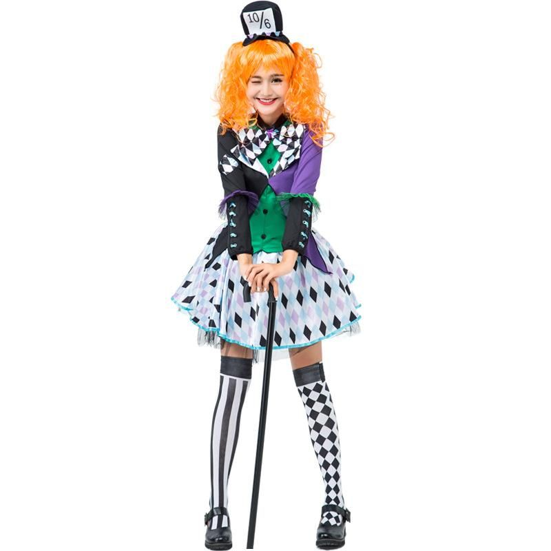 Halloween costume cosplay split lattice clown party suit NHFE155259