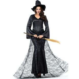 New Halloween Carnival Black Cobweb Witch Cosplay Costume NHFE155263's discount tags